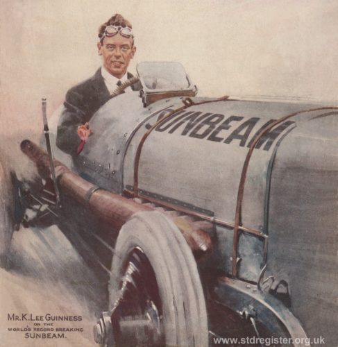 K. Lee Guinness on the Sunbeam as featured on the front page of The Motor in November 1922